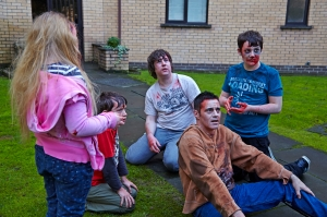 Waiting to be Devoured at the 'Cops and Monsters' Filming in Glasgow - 19 January 2014